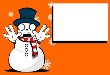 snow man cartoon xmas background card03
