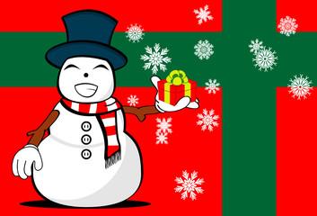 snow man cartoon xmas background card02