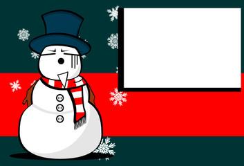 snow man cartoon xmas background card9