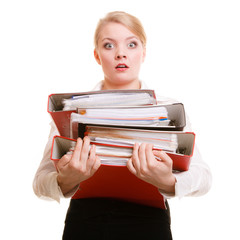 Business woman holding stack of folders documents