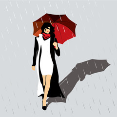 woman with a red umbrella