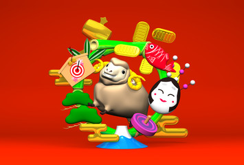 Smile Brown Sheep, New Year's Bamboo Wreath On Red