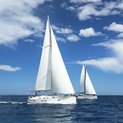 Regatta. Luxury yachts in the waters of the Sea.