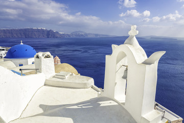 White roofs with chimney in Santorini Island, Greece