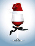 Vector of Red wine glass. Christmas party