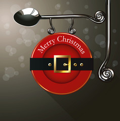 Vector of Santa belt sing plate hanging