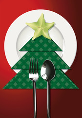 Vector illustrator of Christmas table setting. EPS 10.