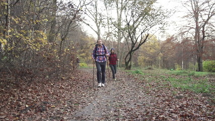 Couple hiking in autumn forest, super slow motion,shot at 240fps