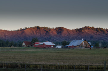 barn and the mountain at dawn