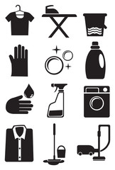 Laundry and Cleaning Service Icon Set