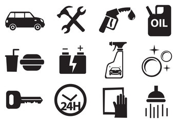 Icons for Services at Petrol Station