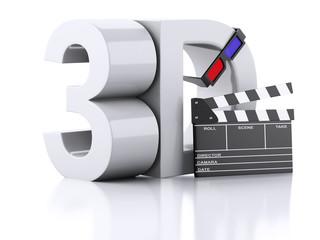 cinema clapper and 3d glasses. 3d illustration