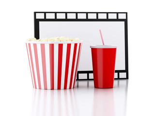 popcorn, drink and film reel. 3d illustration