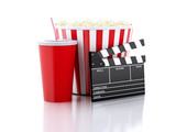 Fototapety cinema clapper, popcorn and drink. 3d image