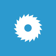 industrial saw icon, white on the blue background .