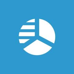 circle diagram icon, white on the blue background .