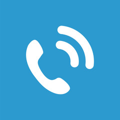 call icon, white on the blue background .