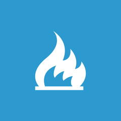 fire icon, white on the blue background .