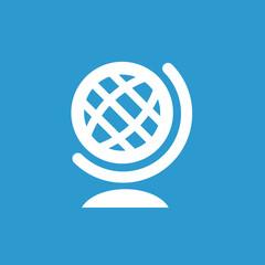 globe icon, white on the blue background .