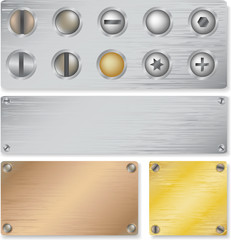 collection Vector metal plate texture with clincher