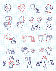 Doodle scheme people communication with icons.Notepaper