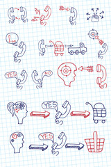 Doodle scheme main activities telephone marketing icons.Notepape