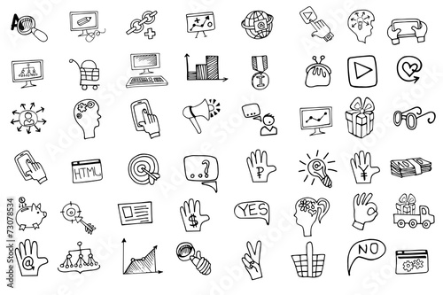 Leinwandbild Motiv Doodle business seo  icons set.Outline sketchy