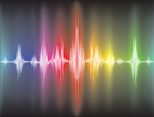 colorfull sound waves on black background