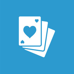 poker icon, white on the blue background .