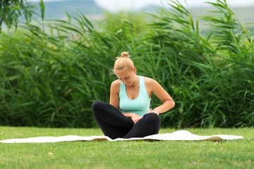 Woman making yoga