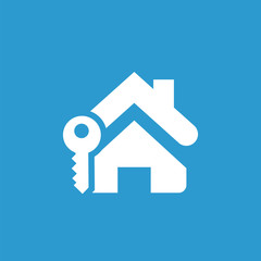 home key icon, white on the blue background .