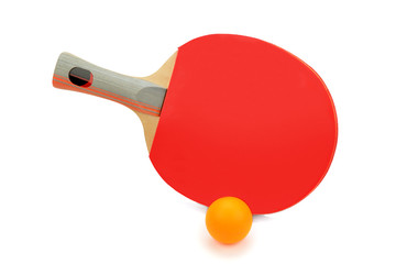 racquet and balls to play ping-pong