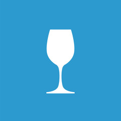 wineglass icon, white on the blue background .