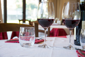 Two glasses of wine in a restaurant