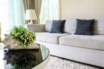 Sofa with pillows in livingroom
