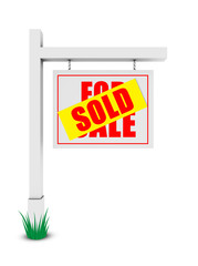 For sale/sold banner on white background