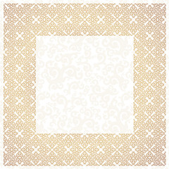 Golden square frame. White background.