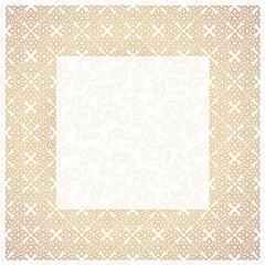 Golden square frame. White background.