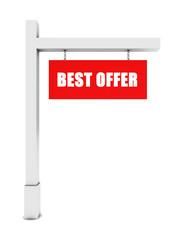 Best offer banner on white background