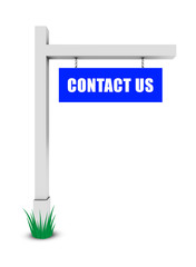 Contact us banner on white background