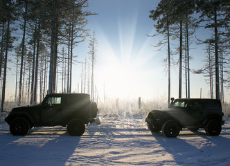 Jeep Wrangler in the winter forest, Russia