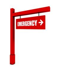 Emergency banner on white background