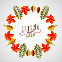 Autumn abstract floral background circle made from minimalist le