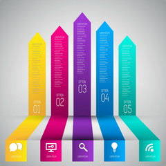 Colorful banners template for step presentation, can be used for