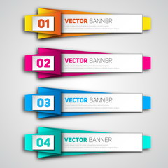 Vector infographic origami banners set