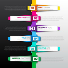 Vector Infographic timeline report template made from colorful p