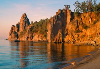 Morning in Sandy Bay on south of Baikal