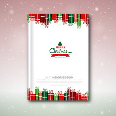 Christmas book cover or flyer template, vector