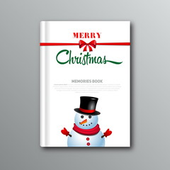 Christmas book cover or flyer template with snowman, vector