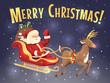 Santa's sleigh and reindeer. Christmas card. Vector.